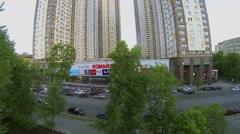 City traffic on street near dwelling complex Izmailovsky Stock Footage