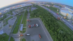 Cityscape with traffic on Moscow beltway near trade center Stock Footage