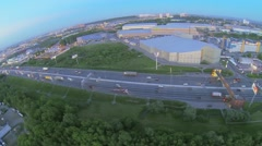 Moscow beltway with traffic near trade center at spring Stock Footage