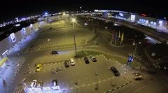 Traffic near big parking of trade center Mega Belaya Dacha Stock Footage