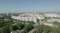 Flying over the houses residential area - stock footage