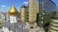 Church near modern office centre White Square. Stock Footage