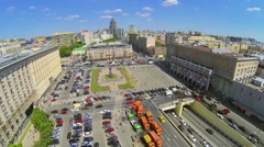Transport traffic on Triumph Square with monument Stock Footage