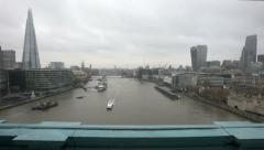 Timelapse of London with the Shard, the City and boats flowing on the river Stock Footage