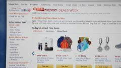 Black friday shopping page with sales is in Amazone.com store Stock Footage