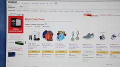 Black friday deals are on shopping page in Amazone.com store. Stock Footage