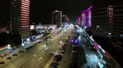 New Arbat street with colorful illumination and traffic Stock Footage