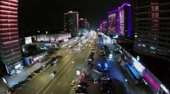 Colourful illumination on New Arbat street with traffic Stock Footage