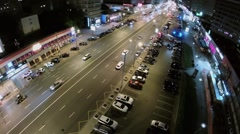 Street traffic on New Arbat with illumination at night. Stock Footage