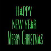 christmas card. christmas tree. flat design style - stock illustration