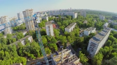 Cityscape with construction site of dwelling complex Stock Footage