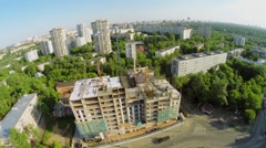 Townscape with building site of residential complex Stock Footage