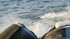 Sea waves crush rocks , foam , whirl , deflect , retreat 4k Stock Footage