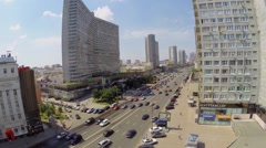 City traffic on New Arbat street at sunny summer day. Aerial view Stock Footage