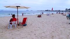 A Sunny Day on Copacabana Beach in Rio de Janeiro, Brazil Stock Footage