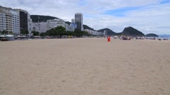 Panoramic View on a Sunny Day on Copacabana Beach Stock Footage