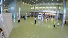People walk during International Specialized Exhibition CET 2014 Stock Footage