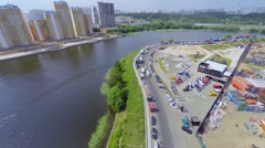 Riverscape with playground for off-road test drives Stock Footage