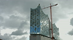 Hamburg Elbphilharmonie construction site Stock Footage