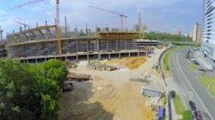 Building site of football stadium CSKA at summer sunny day Stock Footage