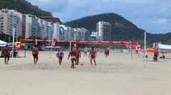 Brazilians Playing Soccer with Volleyball in Copacabana Beach Stock Footage