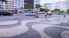 Copacabana Sidewalk in Rio de Janeiro, Brazil Stock Footage