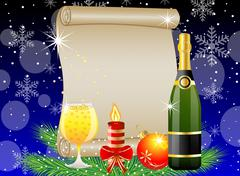 festive postal with champagne and christmas decoration - stock illustration