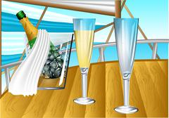 Champagne on sail boat Stock Illustration