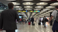 Busy concourse in Barajas airport, Madrid Stock Footage