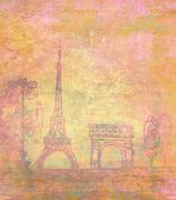 eiffel tower - vintage abstract card - stock illustration