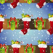 new year pattern with sock for gifts and gift - stock illustration