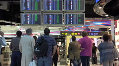 Departure screens in Barajas airport Stock Footage