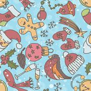 New year seamless pattern. endless christmas template Stock Illustration