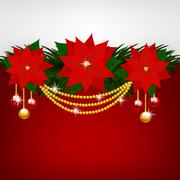 Christmas decoration with poinsettia flowers Stock Illustration