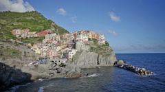 Picturesque view of Manarola, Laguria, Italy in the sunny summer day Stock Footage