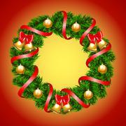 Christmas fir-tree wreath Stock Illustration