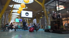 Sitting area in Barajas airport terminal Stock Footage