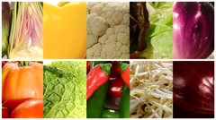Close up of diverse vegetables, montage Stock Footage