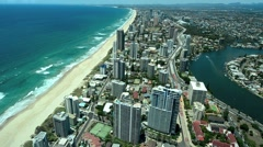 Aerial view of Surfers Paradise and Main Beach in Gold Coast Australia 01 Stock Footage