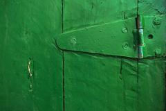 Closeup of hinge on an old door Stock Photos