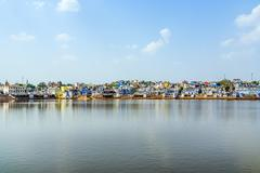View of the holy sacred place for hindus town pushkar Stock Photos