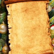 Paper scroll and christmas fir tree with Stock Photos