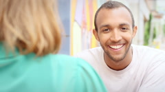 Close up portrait of man smiling while on a lunch date Stock Footage