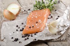 lightly smoked irish salmon fillet - stock photo