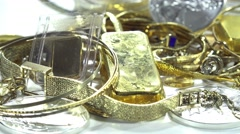 old jewelry (gold and silver, dolly shot) - stock footage