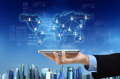 business and social network - stock photo