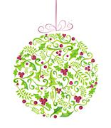 Stock Illustration of holly christmas watercolor bauble greeting card