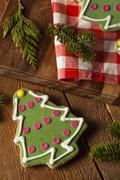 Festive homemade christmas cookies Stock Photos