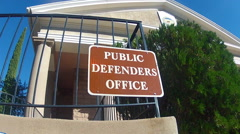 Generic Public Defenders Office Sign And Building Stock Footage