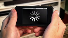 Waiting for Download on Smartphone Stock Footage